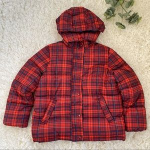 Urban Outfitters Riley red plaid puffer jacket